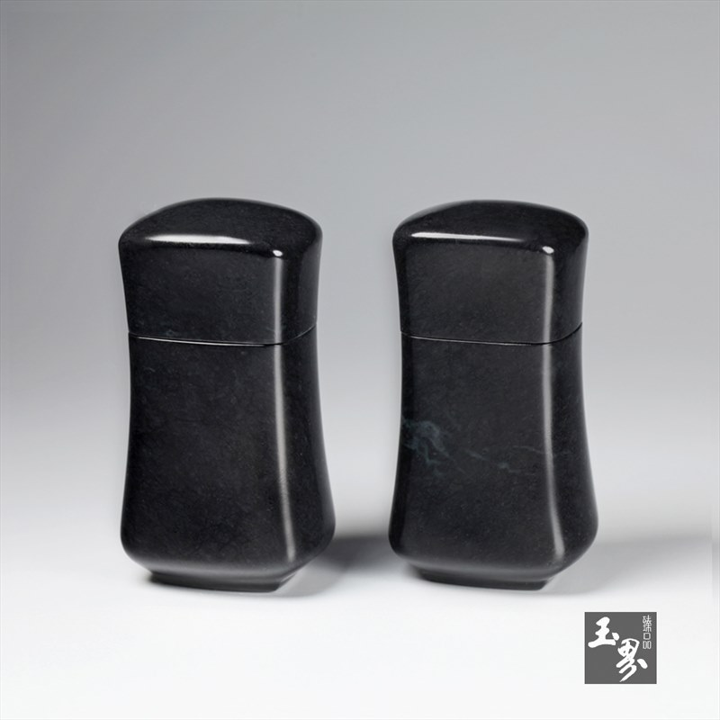 墨玉-行云流水香丸筒(对)