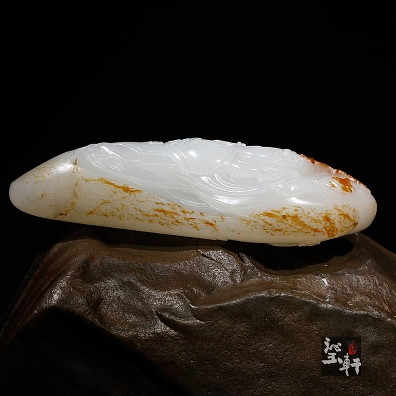 新疆和田羊脂白玉籽料把件-关公(实价)