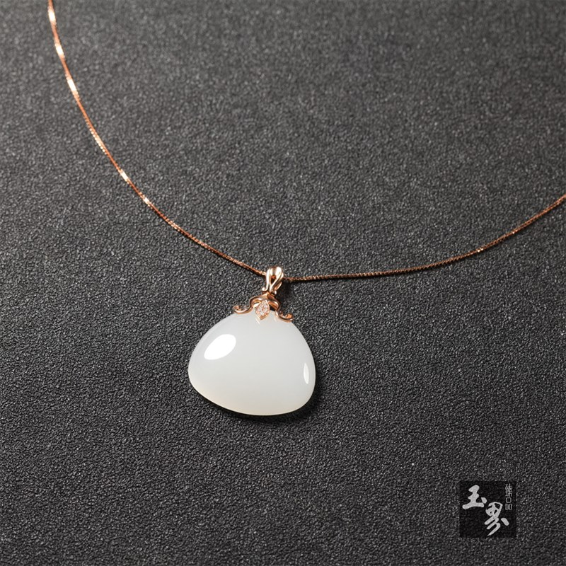 (18k玫瑰金镶钻)白玉-吊坠