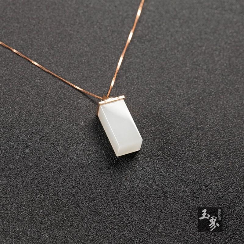 (18k玫瑰金镶钻)白玉-时尚吊坠