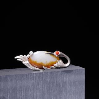 银镶红皮独籽吊坠-天鹅(实价)