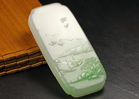 翠青白玉作品-绿意江南赏鉴